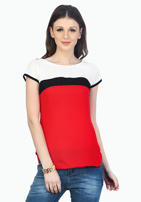 Trendy Colour Blocked Top - Red