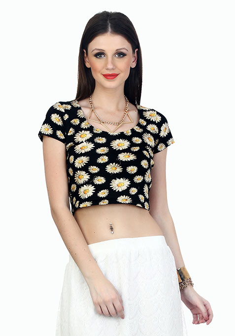 Cross Back Daisy Crop Top