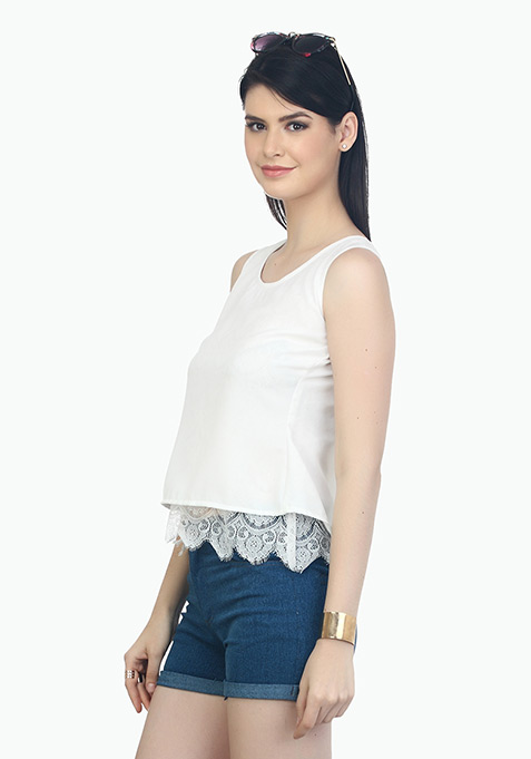Laced Hem Trapeze Top - White