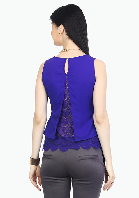 Laced Hem Trapeze Top - Blue