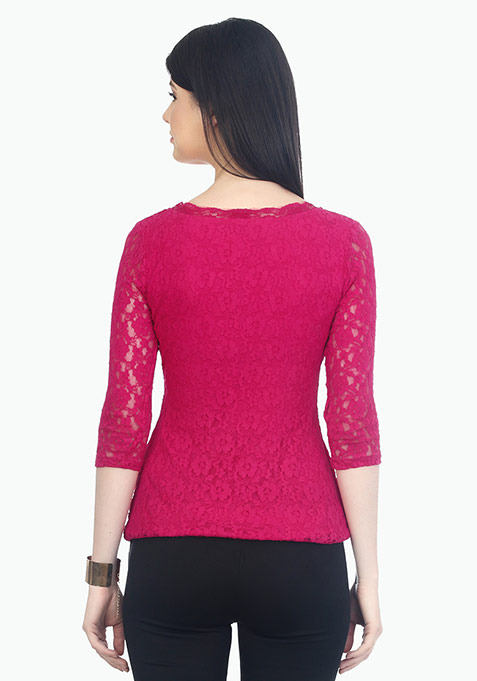 Lace Desire Scalloped Top - Pink