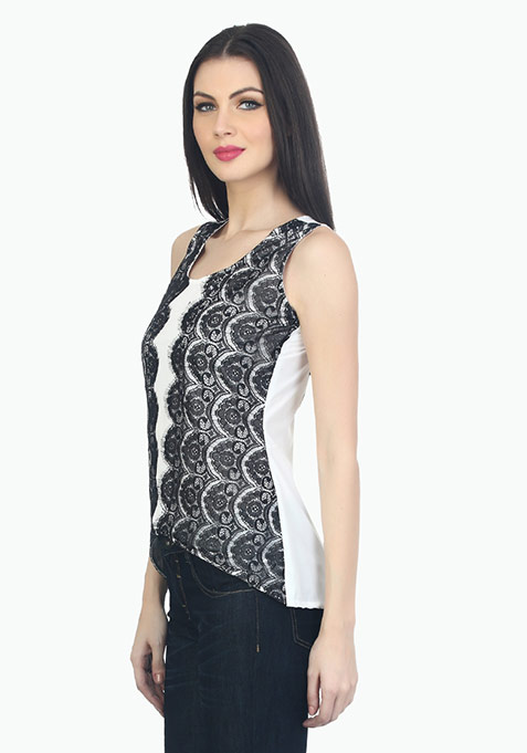 Lace On The Side Top - White