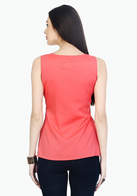 Lace On The Side Top - Coral