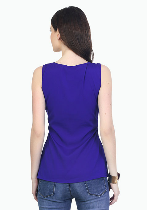 Lace On The Side Top - Blue