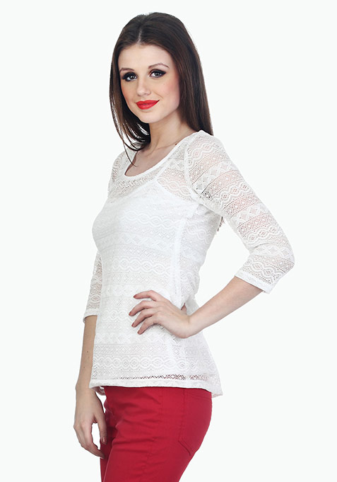 Back To Square Lace Top - White