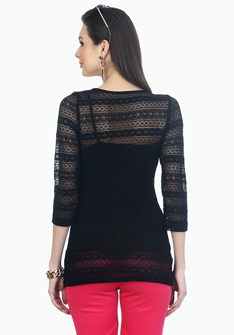 Back To Square Lace Top - Black