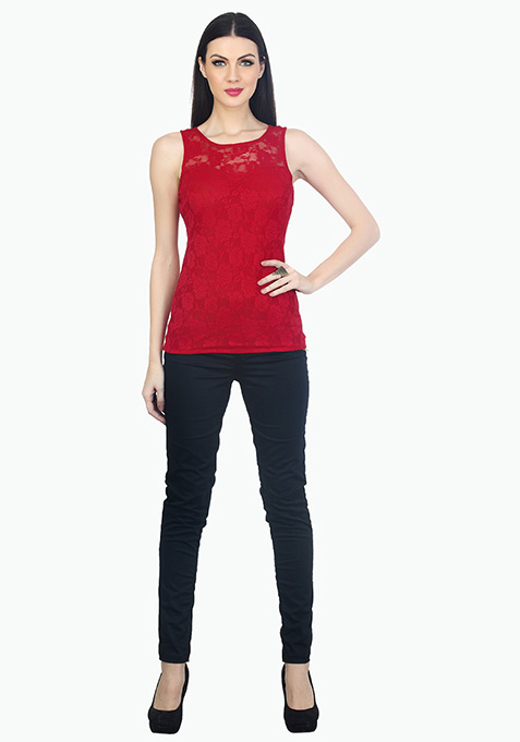 Lace Around Tank - Red