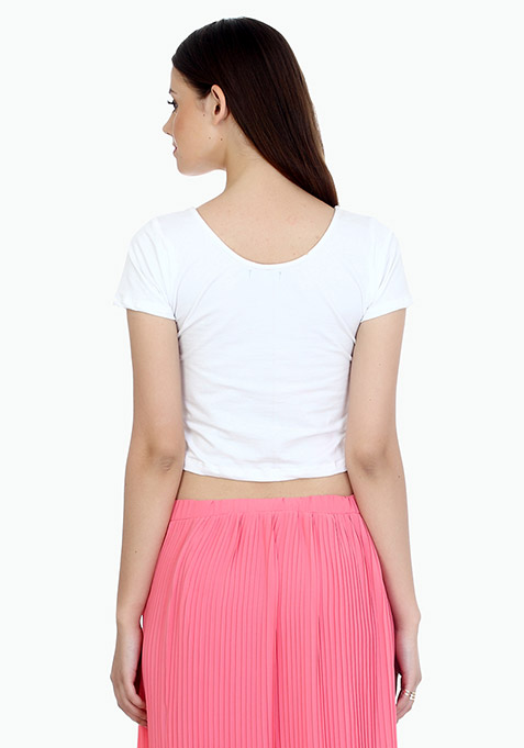 No One Cares Cropped Tee - White