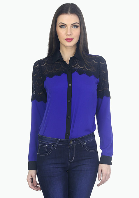 Lashing Lace Shirt - Blue