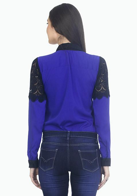 Lashing Lace Shirt - Blue