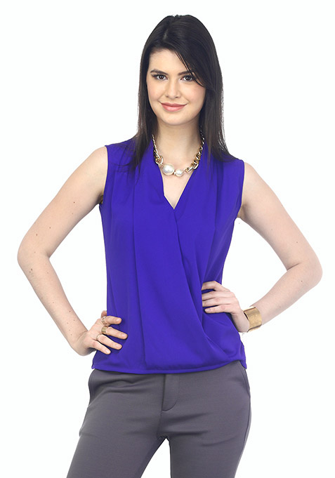 Wrap Around Blouse- Blue