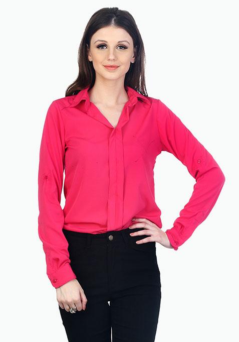 Ruffle Curves Shirt - Pink
