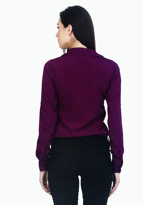 Ruffle Curves Shirt - Plum