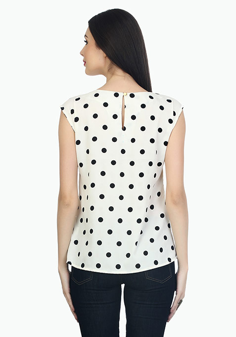 Polka Love Top- White