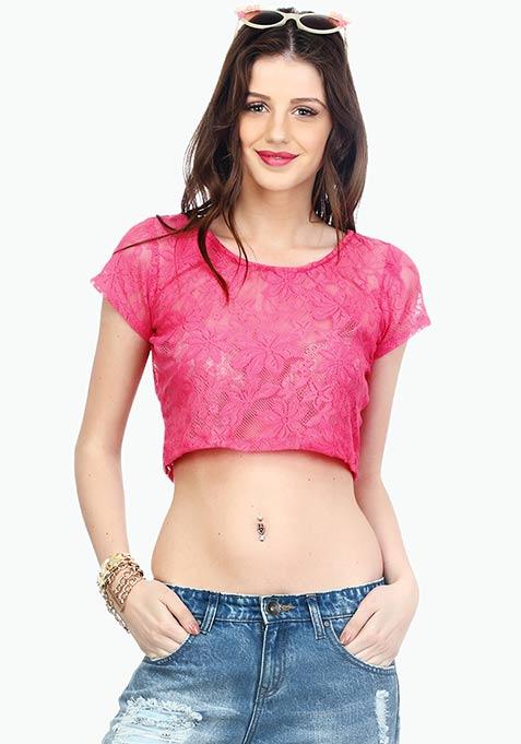 Demure Lace Crop Top - Pink
