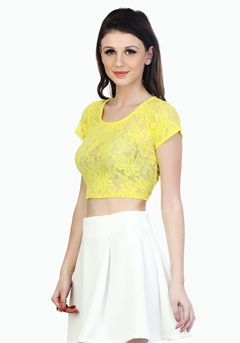 Demure Lace Crop Top - Yellow