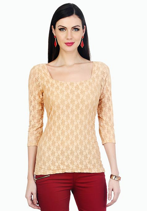 Dashing Lady Lace Top - Nude