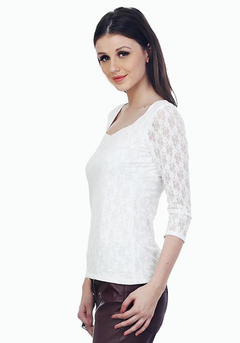 Dashing Lady Lace Top - White
