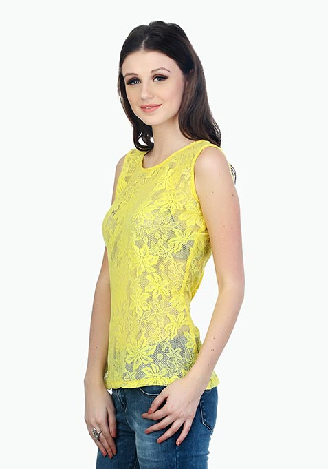 Yellow Punch Lace Top