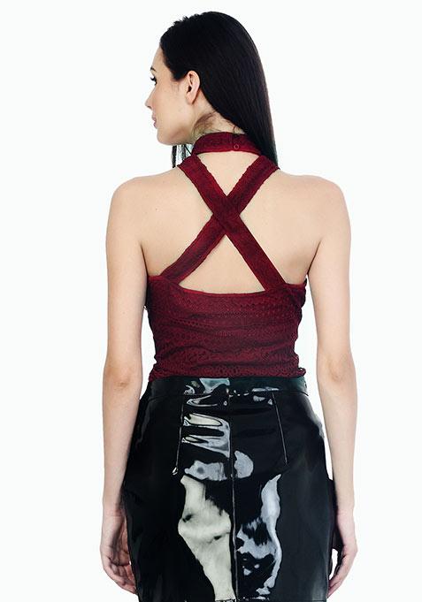 Cross Neck Lace Top - Oxblood