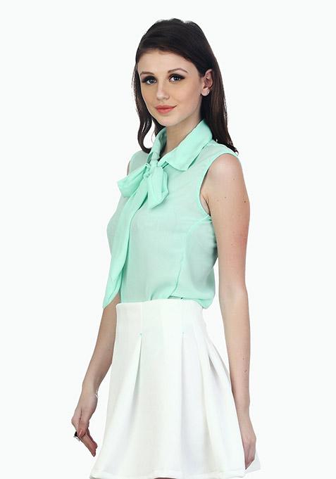 Flirty Knotted Shirt - Mint