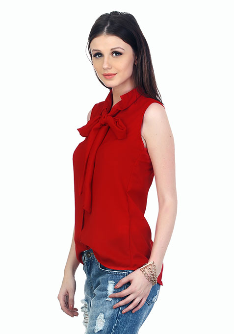Flirty Knotted Shirt - Red