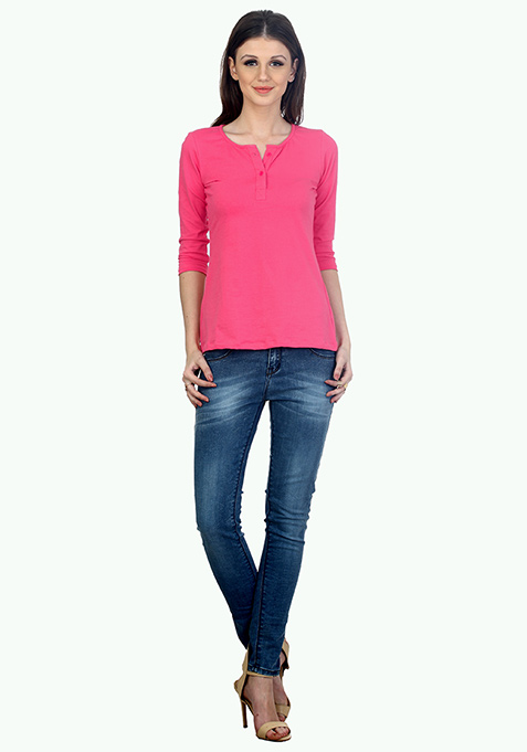Back To Basics Henley Tee - Pink