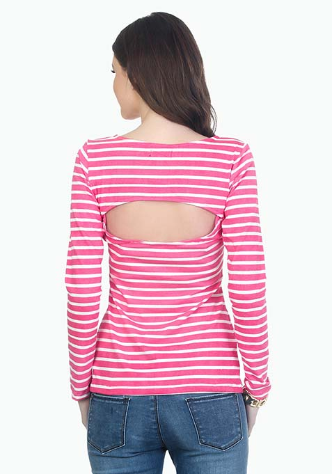 Frisky Cut Out Tee - Pink Stripes