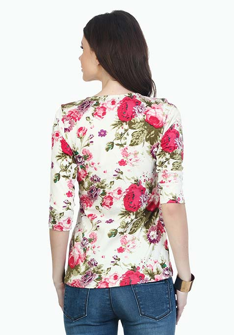 Back To Basics Henley Tee - Floral