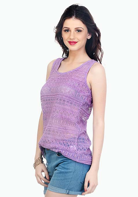 Lilac Spring Lace Tank