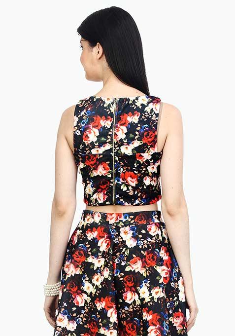 Go Glam Floral Crop Top - Black