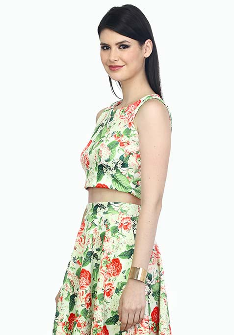 Go Glam Floral Crop Top - White