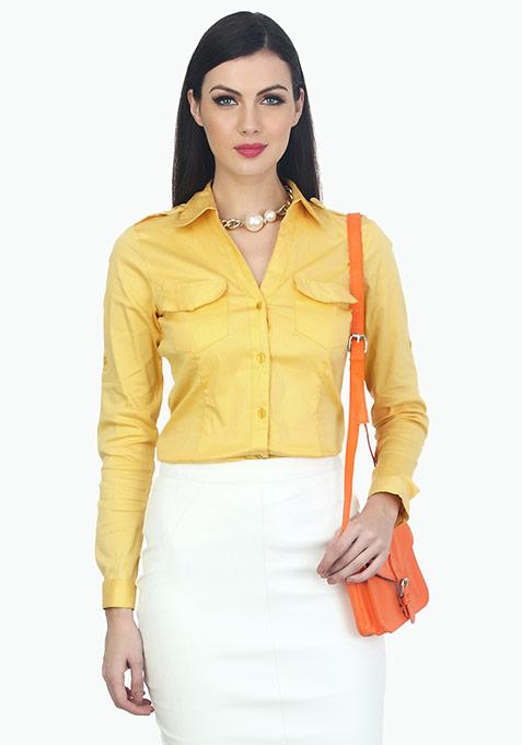Office Ready Cotton Shirt - Yellow