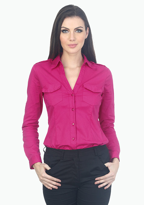 Office Ready Cotton Shirt - Pink