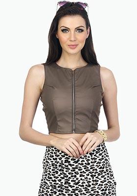 Grey Rider Leather Crop Top