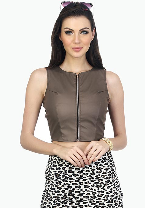 Grey Rider Leather Crop Top