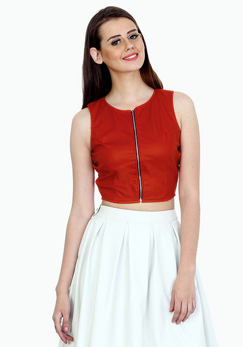 Red Rider Leather Crop Top