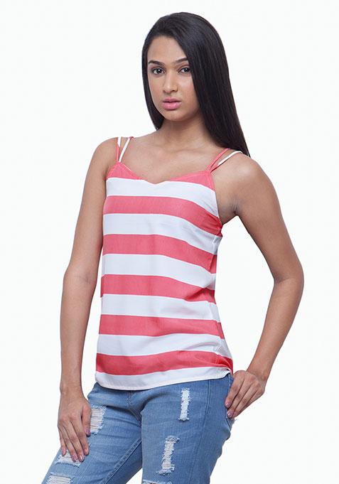 Dual Straps Cami - Coral Stripes