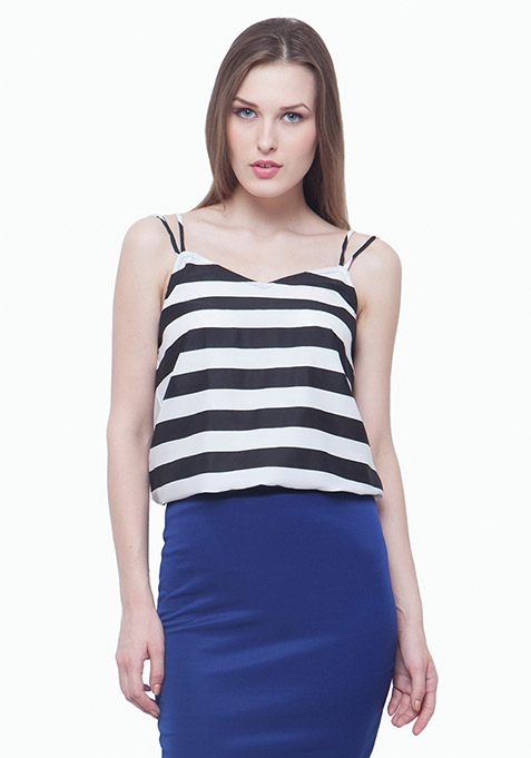 Dual Straps Cami - Black Stripes