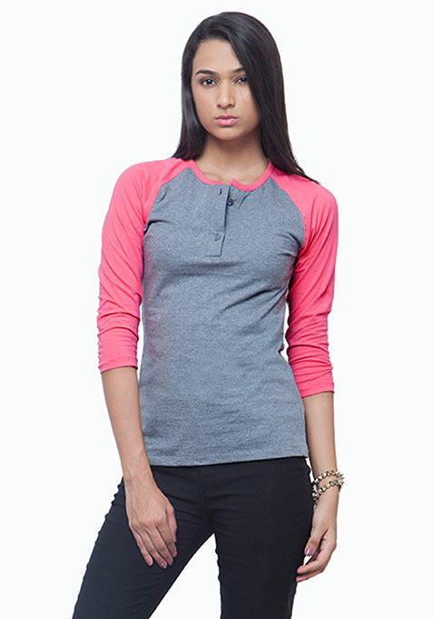 Henley Baseball Tee - Grey