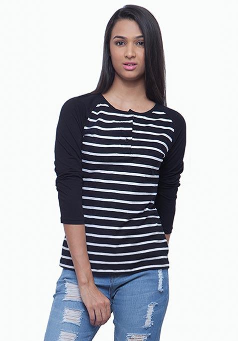 Henley Baseball Tee - Stripes