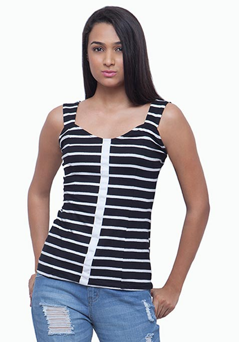 Sweetheart Sweep Tee - Black Stripes