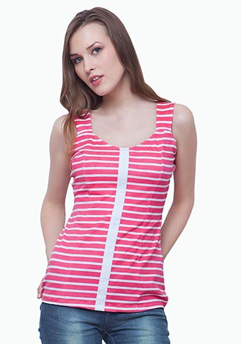 Sweetheart Sweep Tee - Pink Stripes