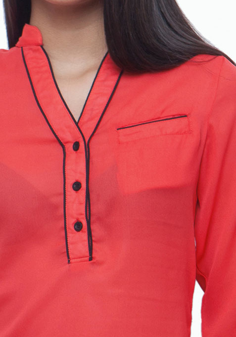 Piping Hot Shirt - Coral