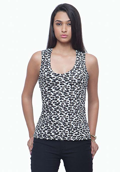 Strappy Back Vest - Leopard