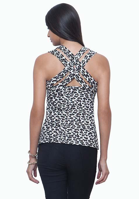 Strappy Back Vest - Leopard
