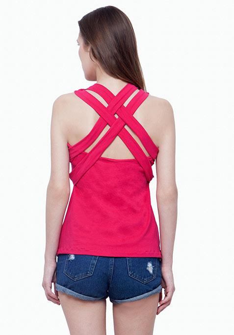Strappy Back Vest - Pink
