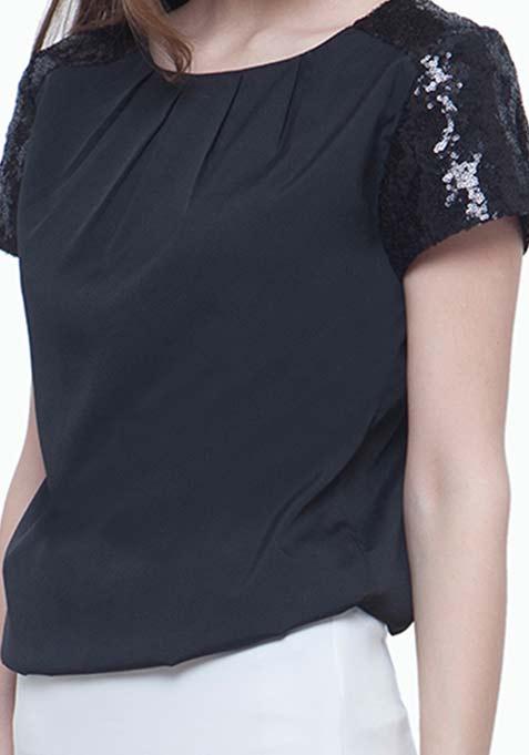 Sequin Starter Blouse - Black