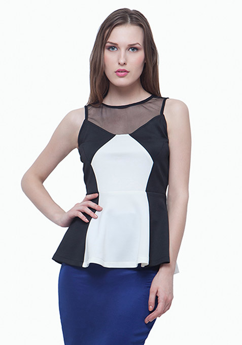 Meshed Up Peplum Top - White