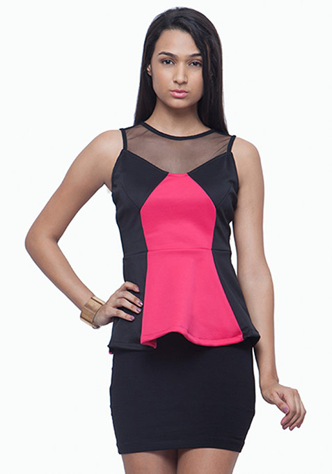 Meshed Up Peplum Top - Pink